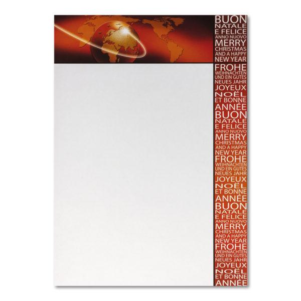 Weihnachtsbrief, A4-Bogen, Weltkugel, Grammatur: 100 g/m²