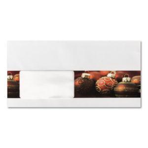 Briefumschlag mit Fenster zu Weihnachtsbrief 96805, rote Christbaumkugeln