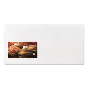 Briefumschlag ohne Fenster zu Weihnachtsbrief 96805, rote Christbaumkugeln
