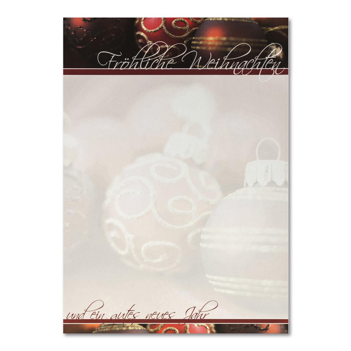 Dunkelrote Christbaumkugeln.Weihnachtsbrief A4 Bogen Rote Christbaumkugeln Grammatur 100 G M
