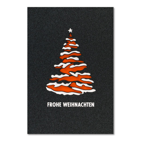 Weihnachtskarte, Laserkarte, irisierender, dunkelgrauer Karton, Folienprägung silber matt
