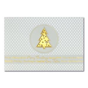 Weihnachtskarte, cremefarbener Karton, Folienprägung gold und pastell