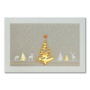 Weihnachtskarte, cremefarbener Karton, Folienprägung gold und kupfer, Blindprägung