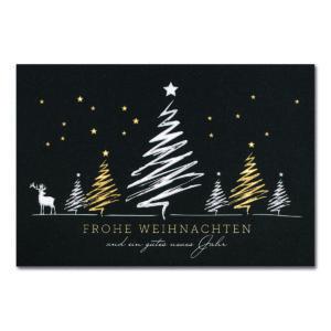 Weihnachtskarte, dunkelgrauer Karton, Folienprägung silber matt und gold
