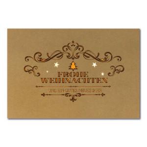 Weihnachtskarte, brauner Ökokarton, Folienprägung gold und braun