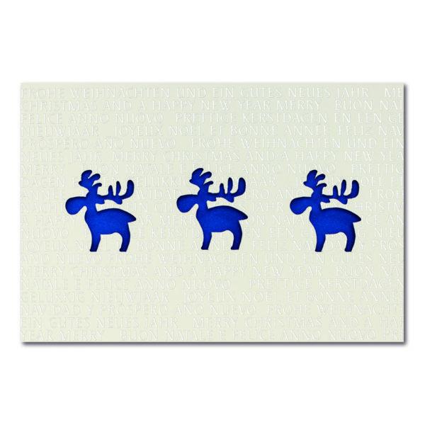 Weihnachtskarte, Laserkarte, cremefarbener Karton, Folienprägung silber