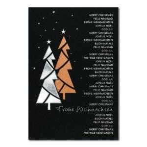 Weihnachtskarte, Laserkarte, dunkelgrauer Karton, Folienprägung silber