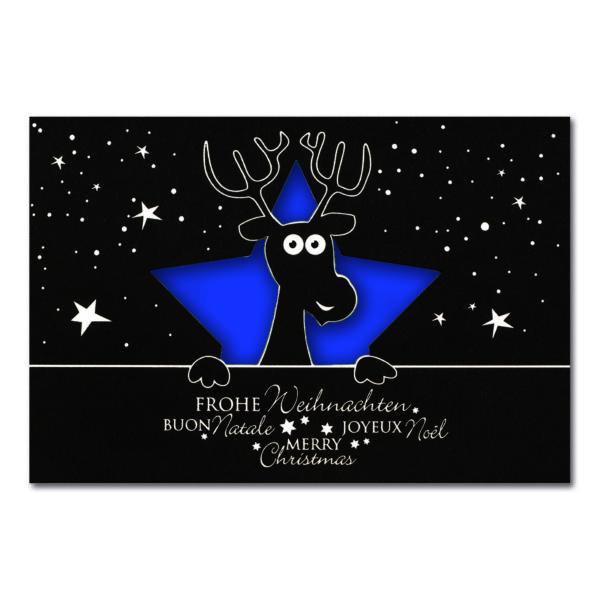 Weihnachtskarte, Laserkarte, schwarzer Karton, Folienprägung silber matt