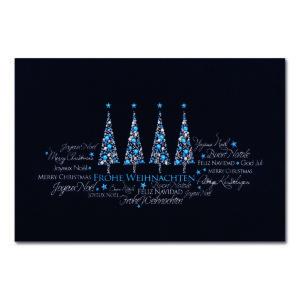 Weihnachtskarte, dunkelblauer Karton, Folienprägung silber und blau