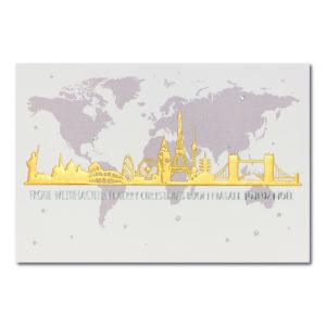 Weihnachtskarte, cremefarbener Karton, Folienprägung silber und gold matt