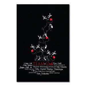 Weihnachtskarte, schwarzer Karton, Folienprägung silber und rot