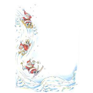 Weihnachtsbrief, A4- Bogen, Nikolaus beim Wintersport, Grammatur: 100 g/m²