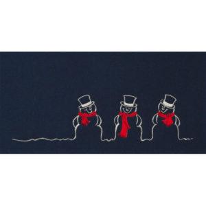 Weihnachtskarte, dunkelblauer Karton, Folienprägung silber und rot