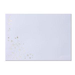 Umschlag B6, Farbe: weiß mit Foliensternen silber, Grammatur: 90 g/m², spitze Klappe, Nassklebung