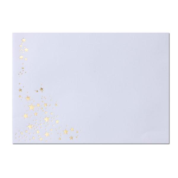 Umschlag B6, Farbe: weiß mit Foliensternen gold, Grammatur: 90 g/m², Haftklebung