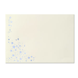 Umschlag B6, Farbe: creme mit Foliensternen silber, Grammatur: 90 g/m², Haftklebung