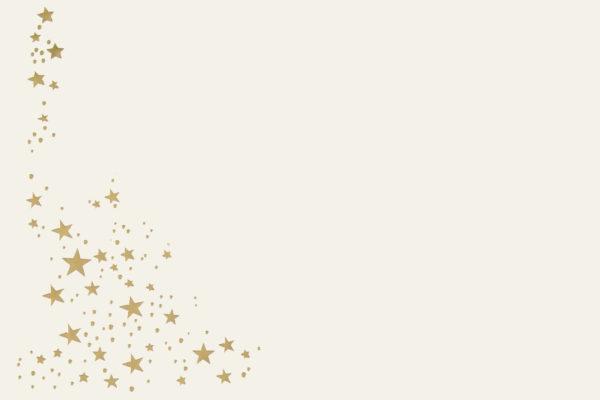 Umschlag B6, Farbe: creme mit Foliensternen gold, Grammatur: 90 g/m², Haftklebung