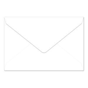 Umschlag B6, Farbe: hochweiß, Grammatur: 110 g/m², spitze Klappe, Naßklebung