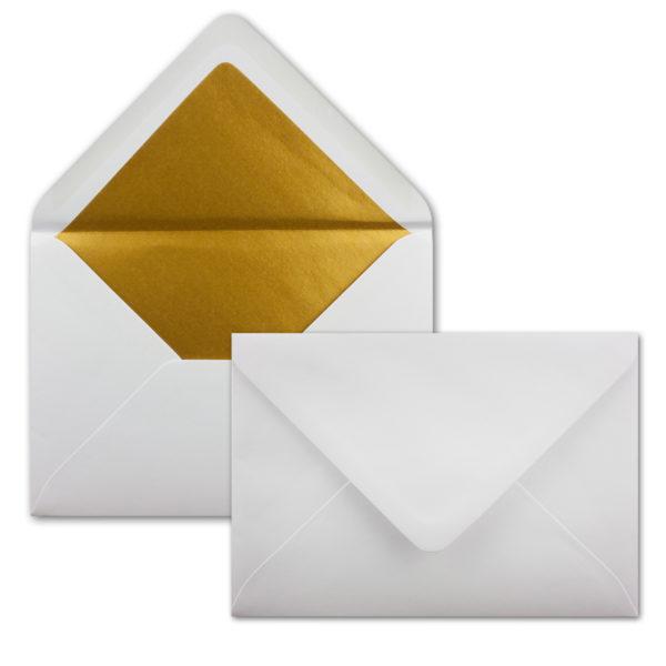 Umschlag B6, Farbe: hochweiss, Grammatur: 120 g/m², spitze Klappe, Naßklebung, Seidenfutter: gold