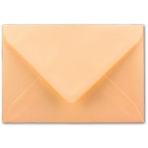 Umschlag B6, Farbe: aprikose, Grammatur: 110 g/m², spitze Klappe, Naßklebung