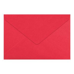 Umschlag B6, Farbe: rosenrot, Grammatur: 110 g/m², spitze Klappe, Naßklebung