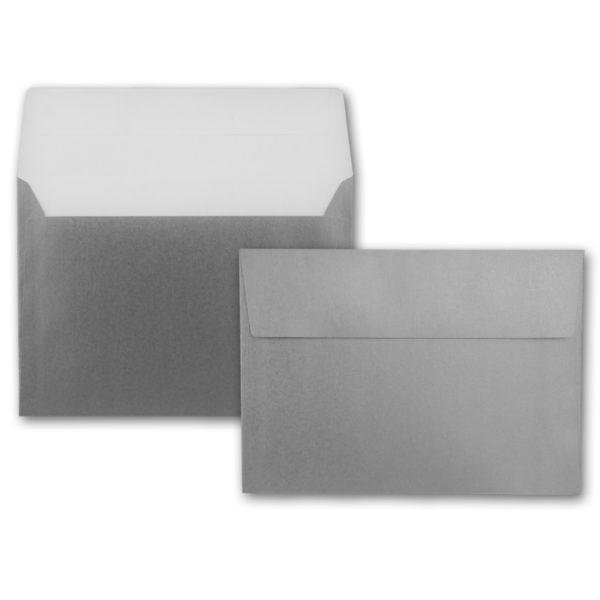 Umschlag B6, Farbe: silber, Grammatur: 90 g/m², Haftklebung