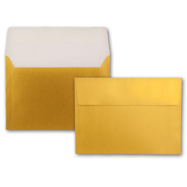 Umschlag B6, Farbe: gold, Grammatur:90 g/m², Haftklebung