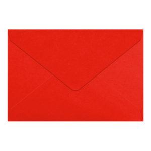 Umschlag B6, Farbe: rot, Grammatur: 110 g/m², spitze Klappe, Naßklebung