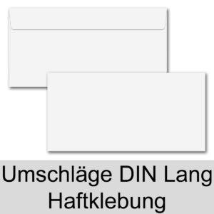 Umschlag DL, Farbe: weiß, Grammatur: 100 g/m², Haftklebung