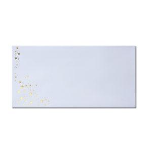 Umschlag DL, Farbe: weiß mit Foliensternen gold, Grammatur: 100 g/m², Haftklebung