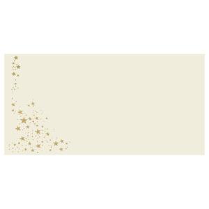 Umschlag DL, Farbe: creme mit Foliensternen silber, Grammatur: 100 g/m², Haftklebung