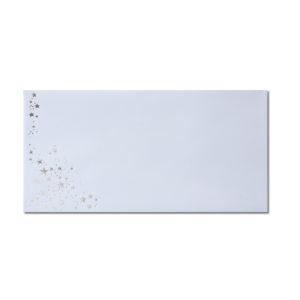 Umschlag DL, Farbe: weiß mit Foliensternen silber, Grammatur: 100 g/m², Haftklebung