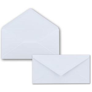 Umschlag DL, Farbe: weiss, Grammatur: 120 g/m², spitze Klappe, Naßklebung