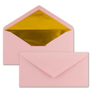 Briefumschlag DL, Farbe: rosa, Grammatur: 120 g/m², spitze Klappe, Naßklebung, Seidenfutter: gold
