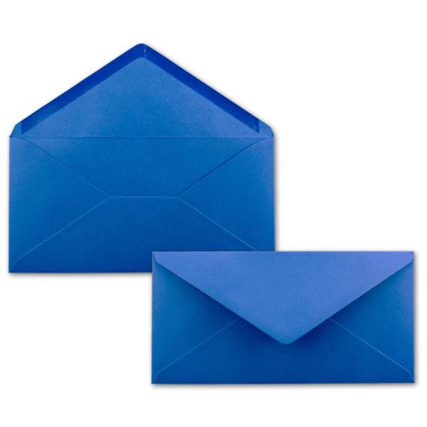 Umschlag DL, Farbe: mittelblau, Grammatur: 110 g/m², spitze Klappe, Naßklebung