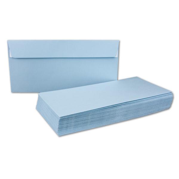 Umschlag DL, Farbe hellblau, mit Haftklebung, Grammatur: 110 g/m²