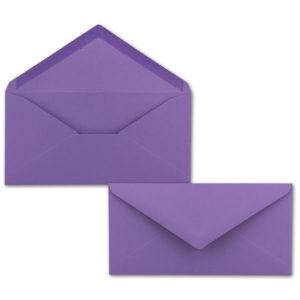 Umschlag DL, Farbe: violett, Grammatur: 120 g/m², spitze Klappe, Naßklebung