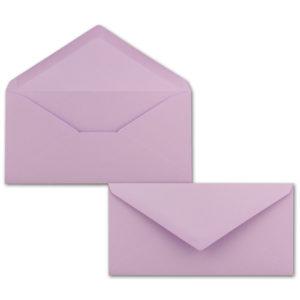Umschlag DL, Farbe: lila, Grammatur: 120 g/m², spitze Klappe, Naßklebung