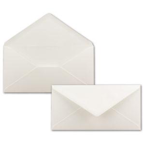 Umschlag DL, Farbe: naturweiss, Grammatur: 120 g/m², spitze Klappe, Naßklebung