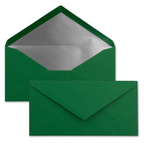 Briefumschlag DL, Farbe: weihnachtsgrün, Grammatur: 120 g/m², spitze Klappe, Naßklebung, Seidenfutter: silber