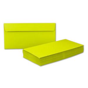Umschlag DL, Farbe limette, mit Haftklebung, Grammatur: 110 g/m²