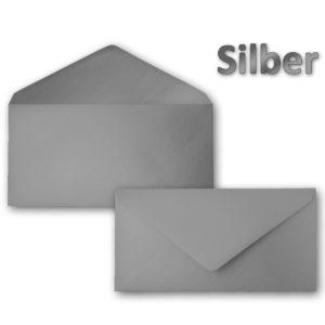 Umschlag DL, Farbe: silber, Grammatur: 90 g/m², spitze Klappe, Naßklebung