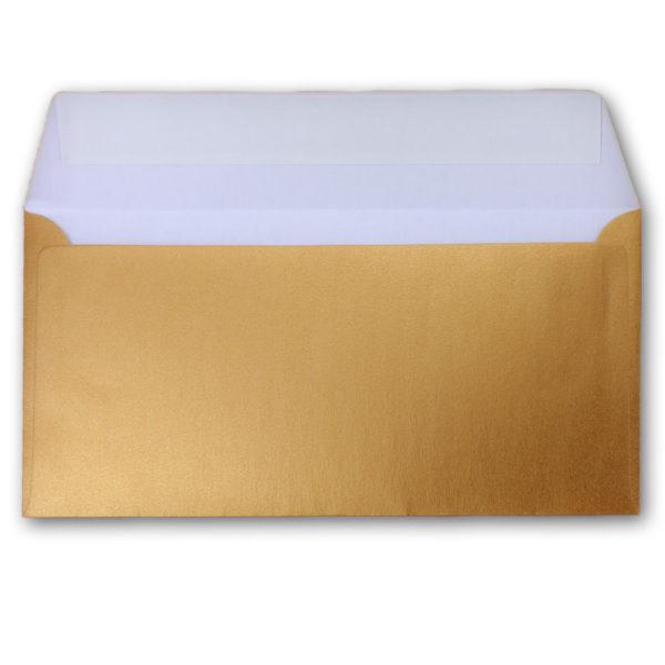 Umschlag DL, Farbe: gold, Grammatur: 90 g/m², Haftklebung