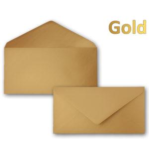 Umschlag DL, Farbe: gold, Grammatur: 90 g/m², spitze Klappe, Naßklebung