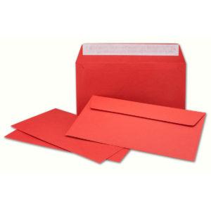 Umschlag DL, Farbe rot, mit Haftklebung, Grammatur: 110 g/m²