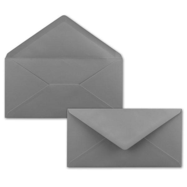 Umschlag DL, Farbe: dunkelgrau, Grammatur: 120 g/m², spitze Klappe, Naßklebung