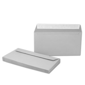 Umschlag DL, Farbe hellgrau, mit Haftklebung, Grammatur: 110 g/m²