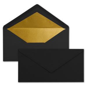 Briefumschlag DL, Farbe: schwarz, Grammatur: 120 g/m², spitze Klappe, Naßklebung, Seidenfutter: gold