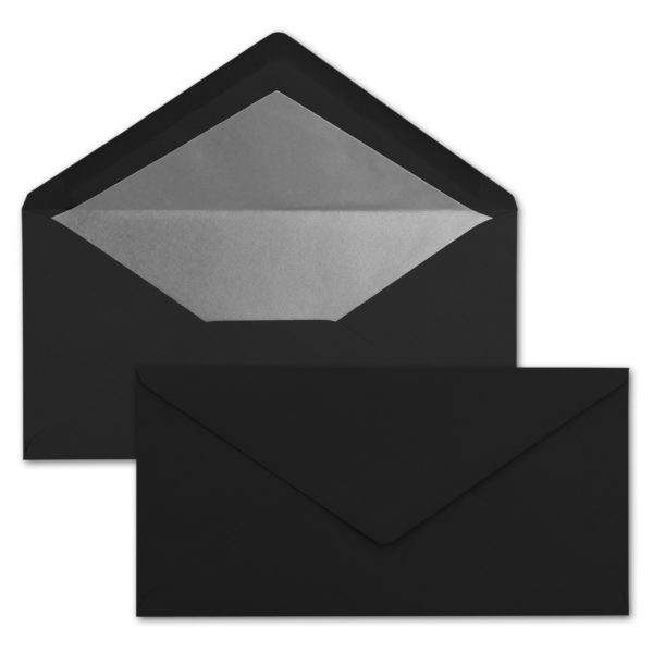 Briefumschlag DL, Farbe: schwarz, Grammatur: 120 g/m², spitze Klappe, Naßklebung, Seidenfutter: silber