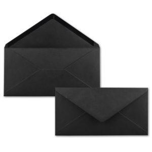 Umschlag DL, Farbe: schwarz, Grammatur: 120 g/m², spitze Klappe, Naßklebung